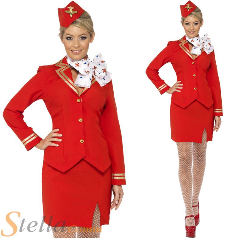 aea154c5bf9 Details about Red Trolley Dolly Virgin Air Hostess Stewardess Cabin Crew  Fancy Dress Costume