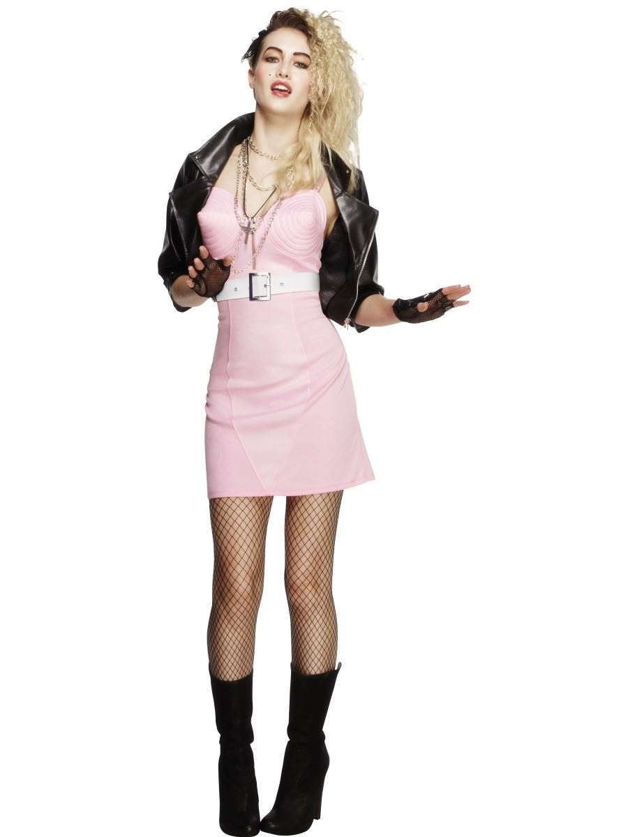 Ladies Rocker Diva Costume Rock Chick Madonna 80s Fancy Dress Outfit