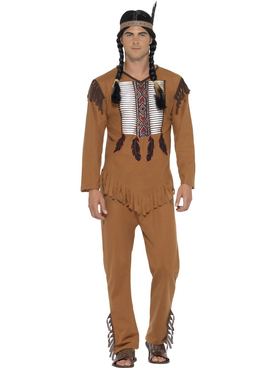 Mens-Native-American-Warrior-Red-Indian-Western-Cowboy-  sc 1 st  eBay & Mens Native American Warrior Red Indian Western Cowboy Adult Fancy ...