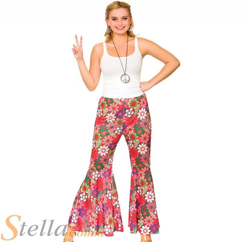 femmes flower power hippie pantalon ann es 60 70 costume d guisement fus e ebay. Black Bedroom Furniture Sets. Home Design Ideas