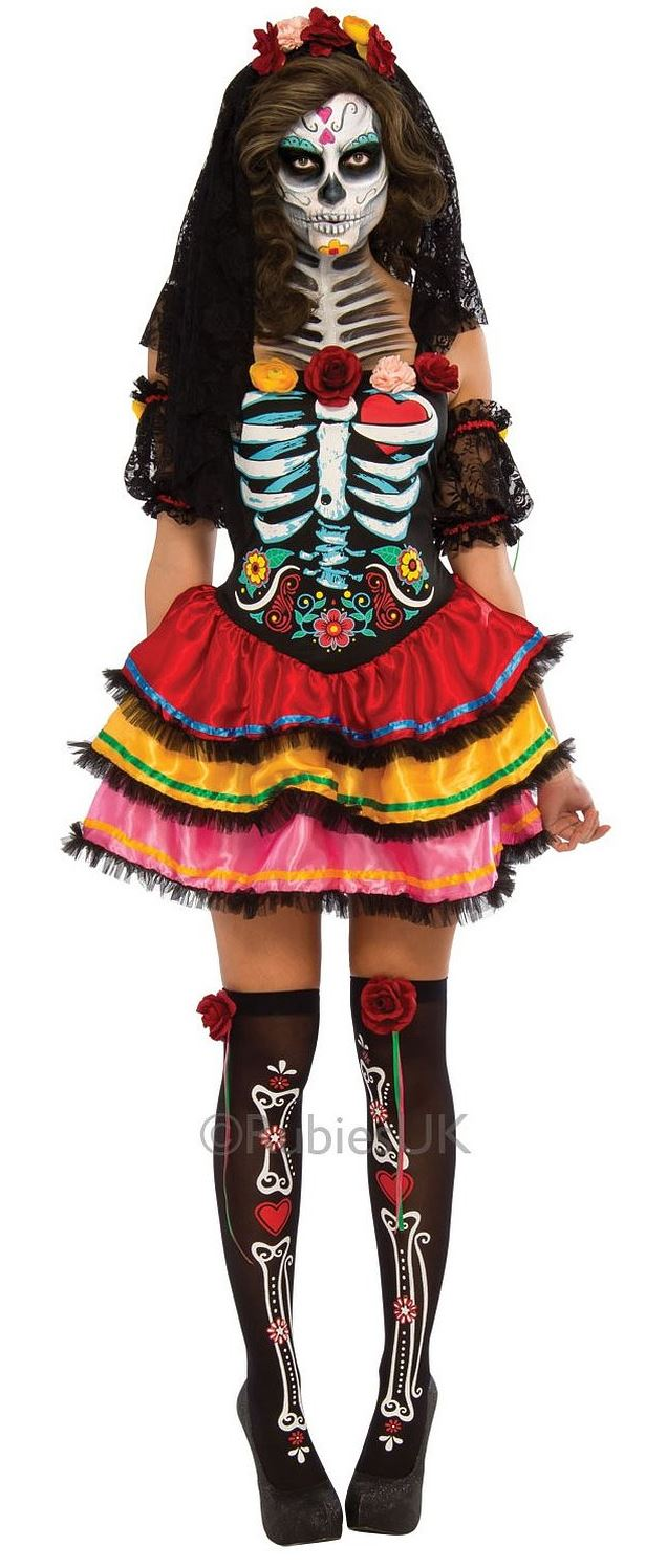 Ladies Day of The Dead Senorita Costume for Halloween Mexican ...