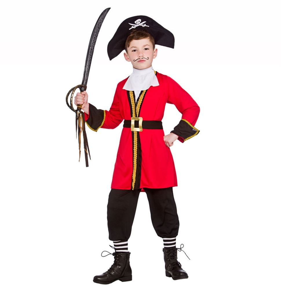 Boys-Red-Pirate-Captain-Hook-Child-Fancy-Dress-  sc 1 st  eBay & Boys Red Pirate Captain Hook Child Fancy Dress Costume Kids Book ...