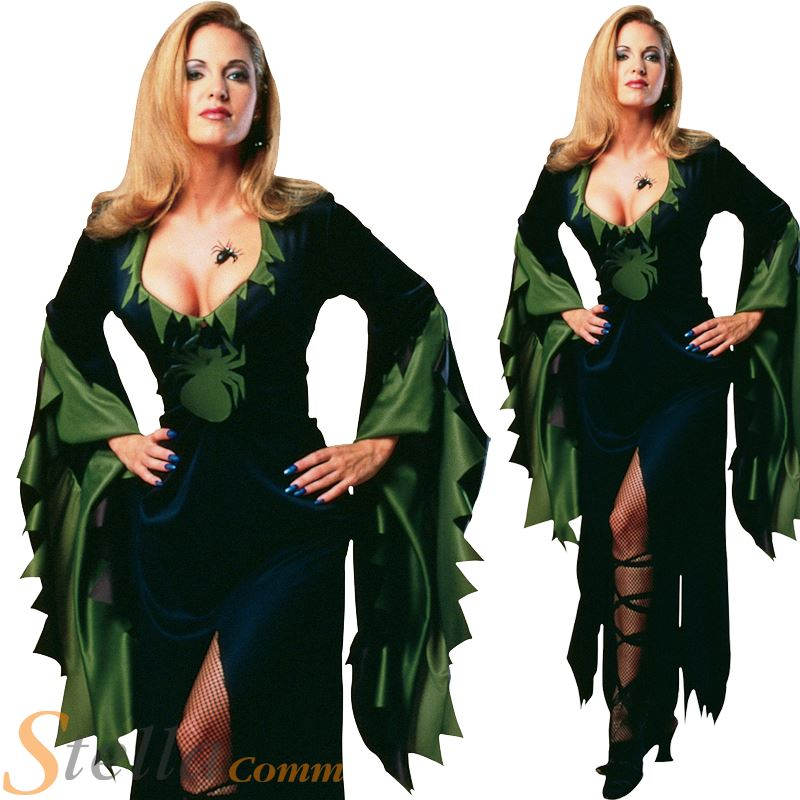 ladies enchantra spider witch halloween fancy dress costume outfit size 10 14