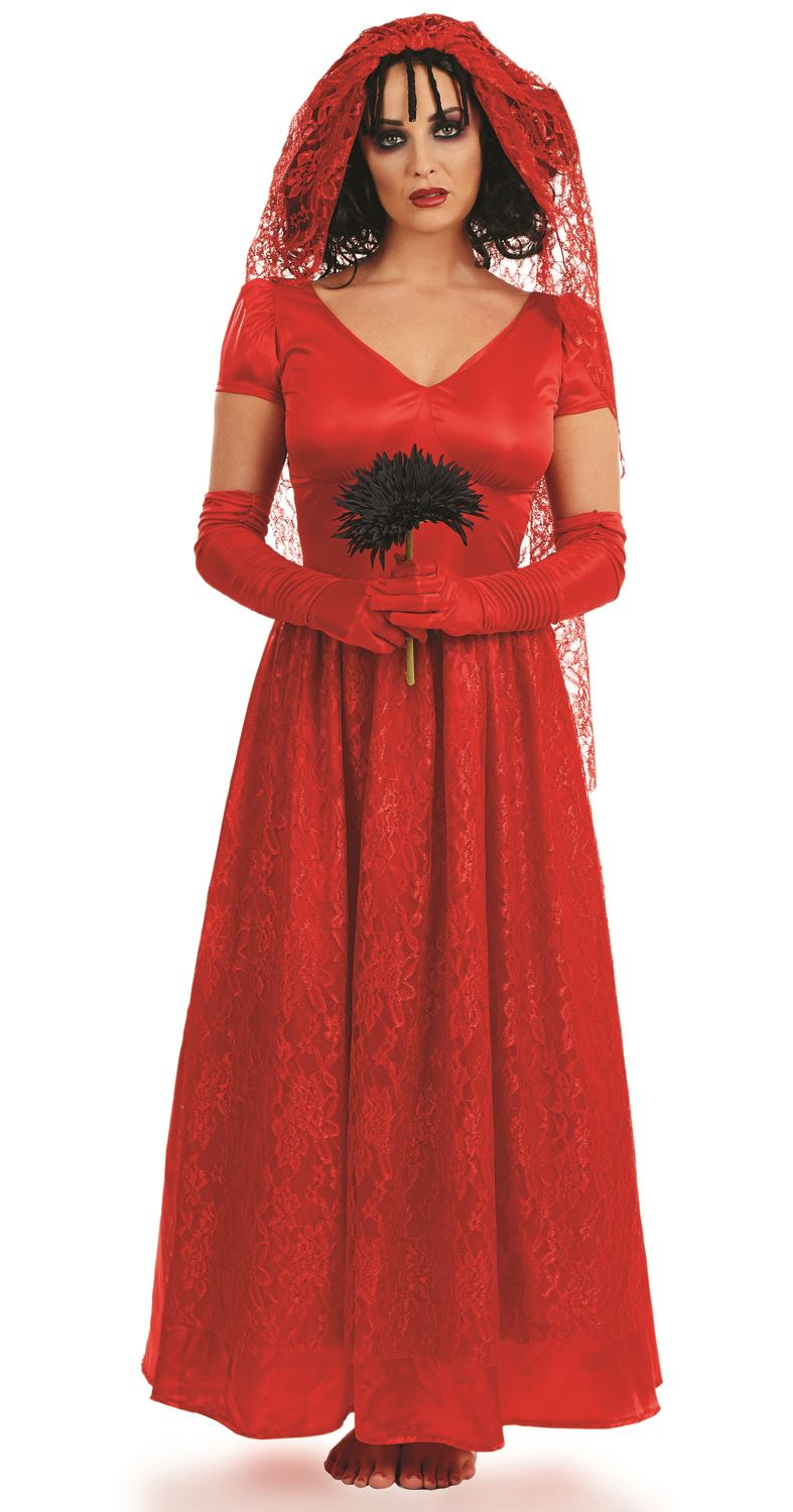 Ladies Blood Red Bride Day Of The Dead Zombie Halloween Fancy ...