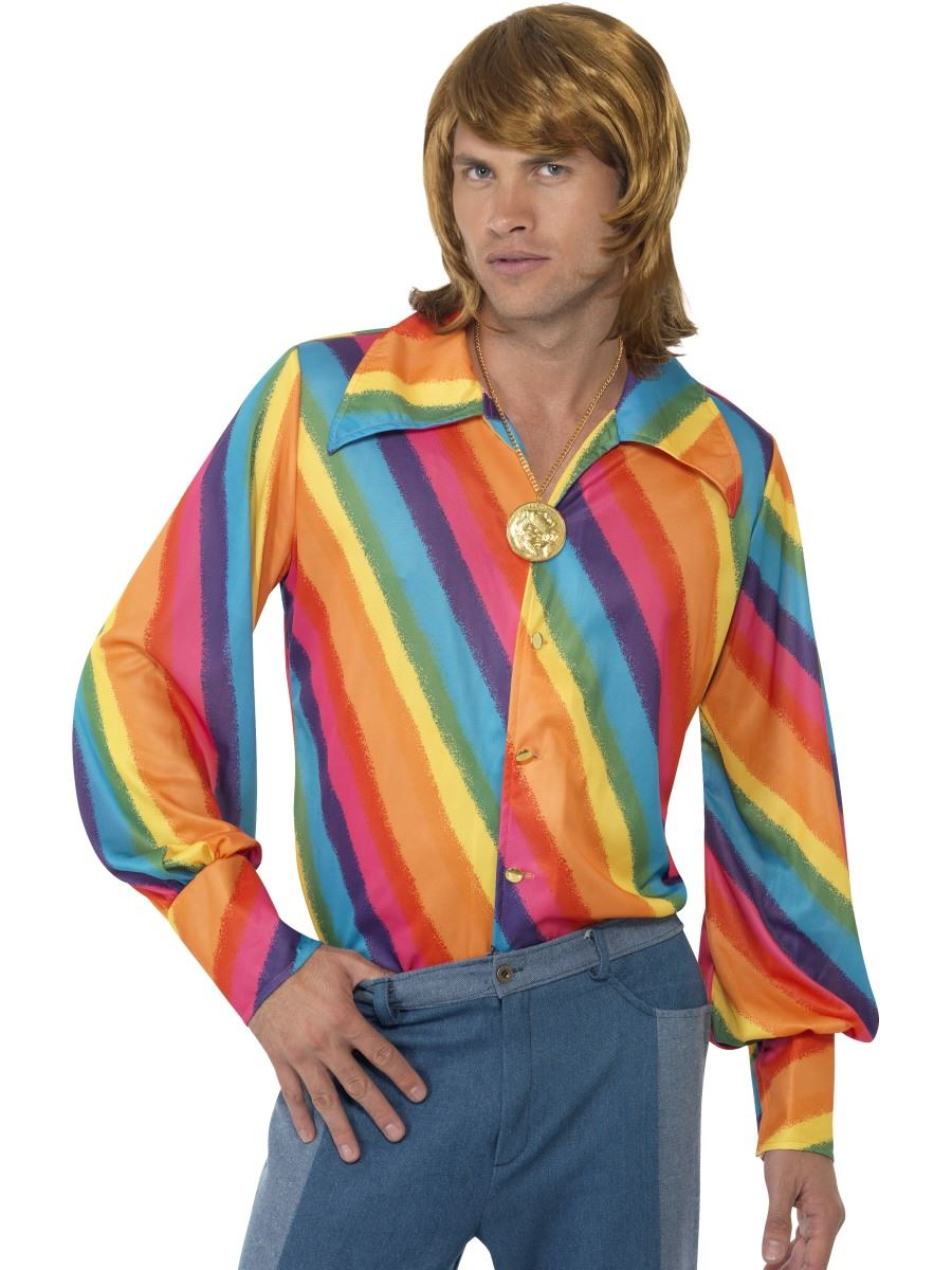 Arco Iris Para Hombres Hippy Camisa DISFRAZ AÑOS 60 70