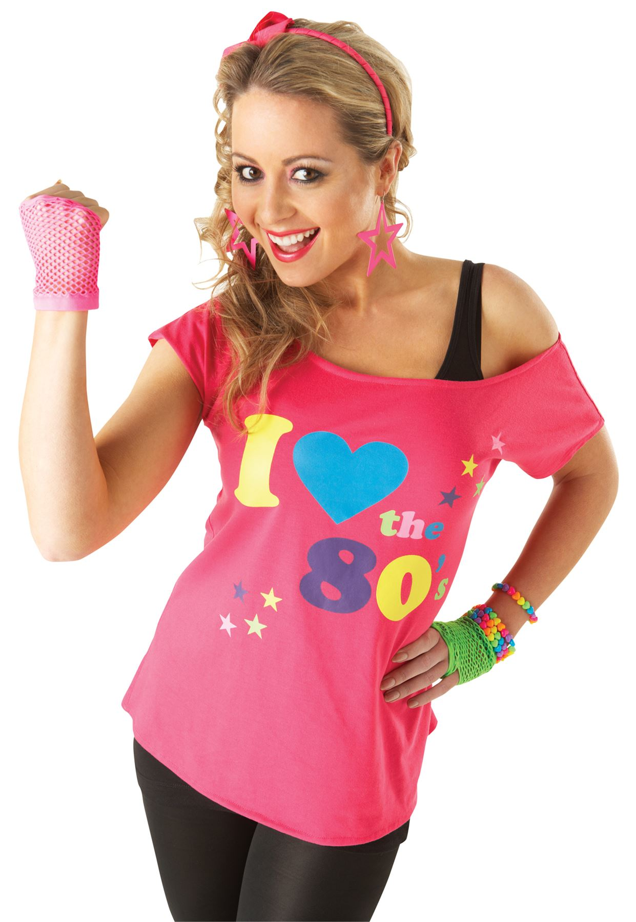 Ladies I Love The 80s T Shirt Fancy Dress Costume Neon Festival
