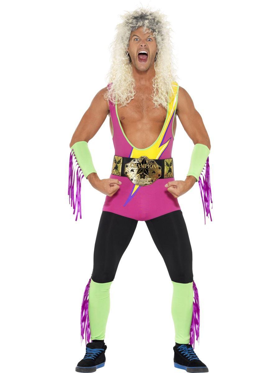 Mens-Wrestler-Fancy-Dress-Costume-Bodysuit-WWF-80s-  sc 1 st  eBay & Mens Wrestler Fancy Dress Costume Bodysuit WWF 80s 90s Adult Stag Do ...