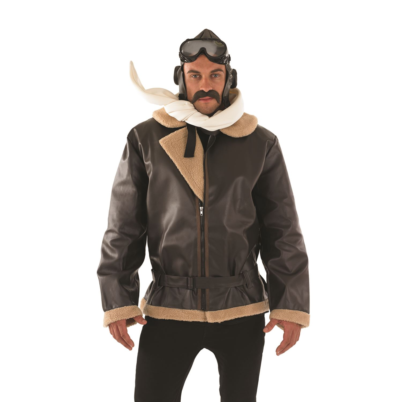 Details About Mens WW2 Wartime Fighter Pilot Biggles 1940s Flying Jacket  Fancy Dress Costume
