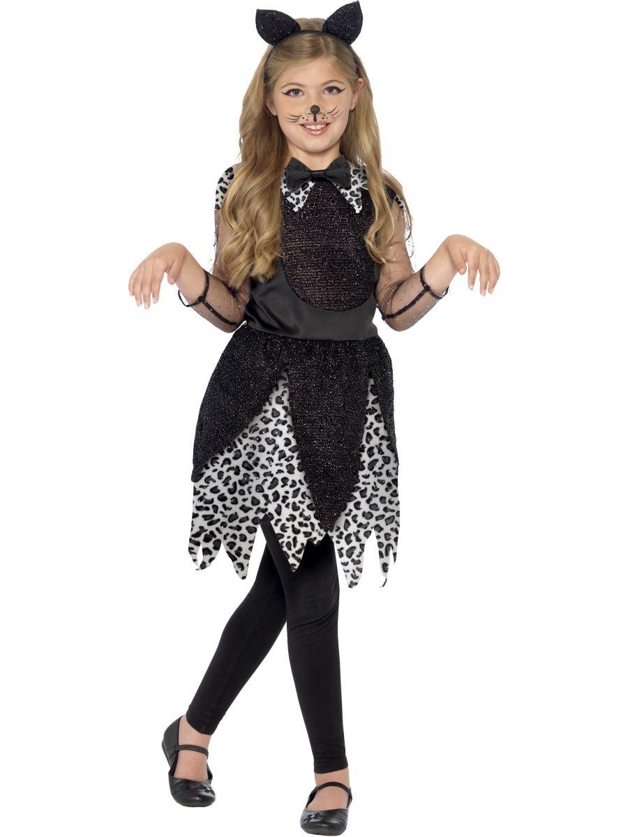 de lujo para nias Media Noche Disfraz de Gato Infantil Halloween