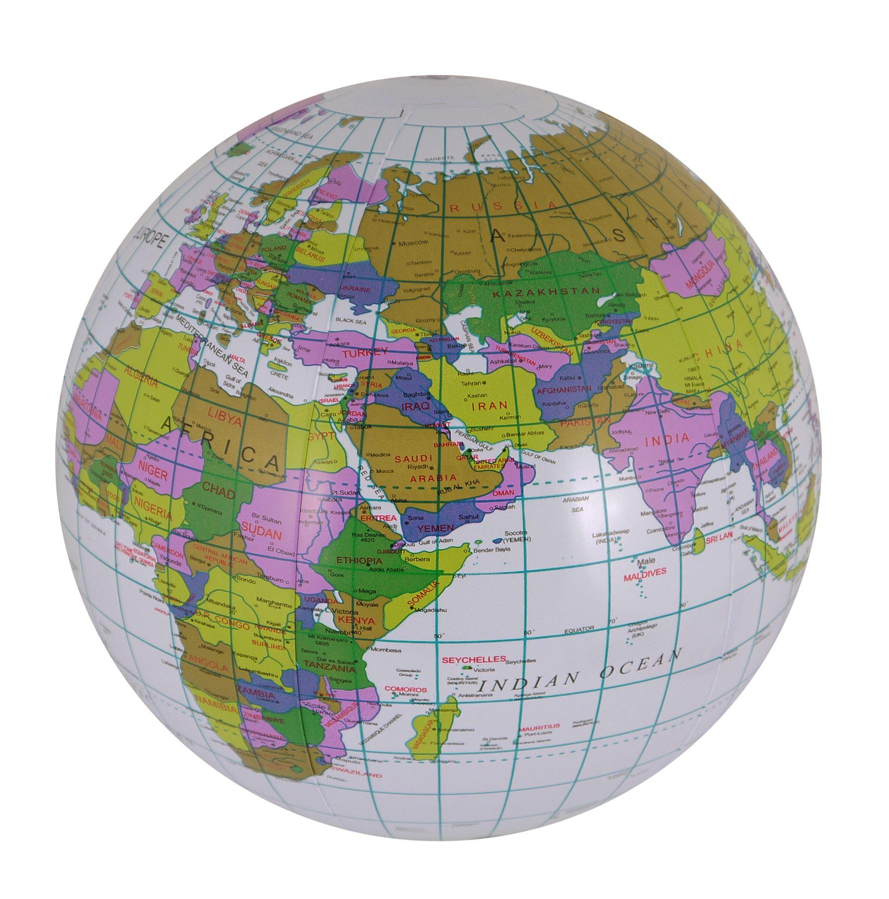 inflatable globe atlas world map earth educational learn 40cm beach ball