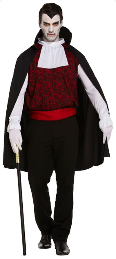 Mens V&ire Costume Gothic Count Dracula Halloween Fancy Dress Adult Outfit  sc 1 st  eBay & Mens Vampire Costume Gothic Count Dracula Halloween Fancy Dress ...