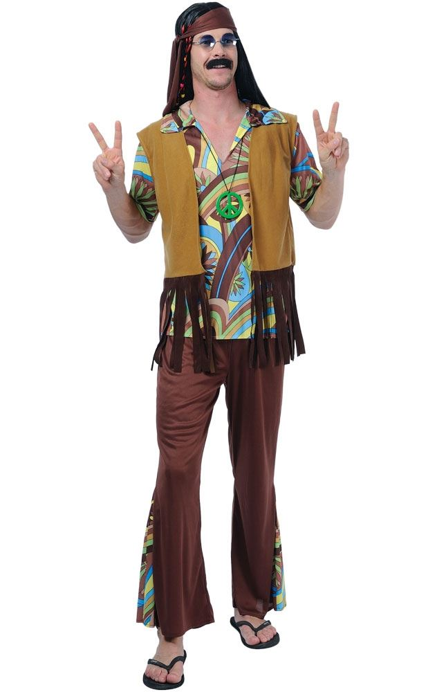 mens groovy hippy outfit 60s 70s flares  top fancy dress