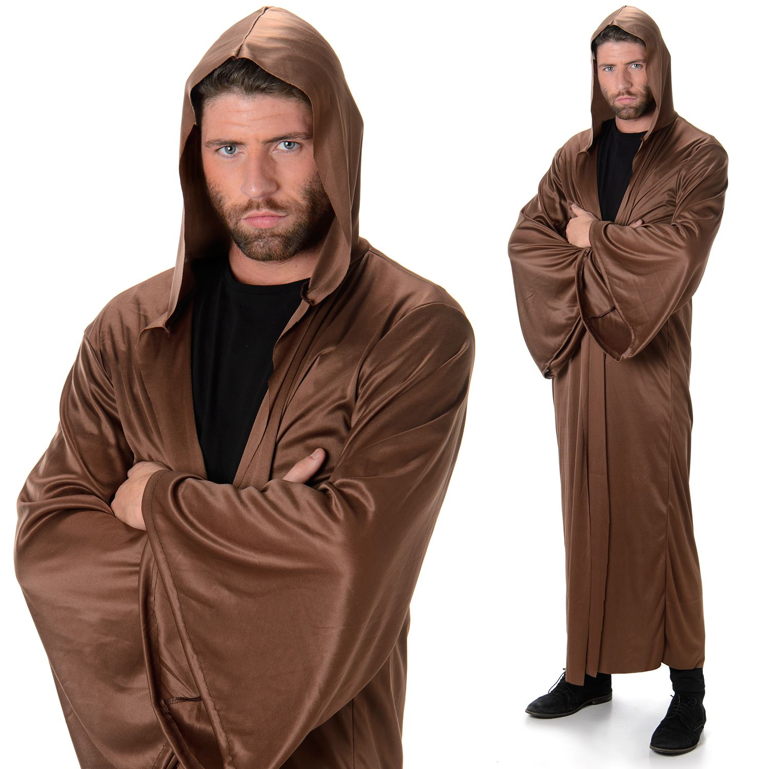 e070d1d06f Adult Brown Hooded Robe Fancy Dress Costume Medieval Cloak Mens Outfit