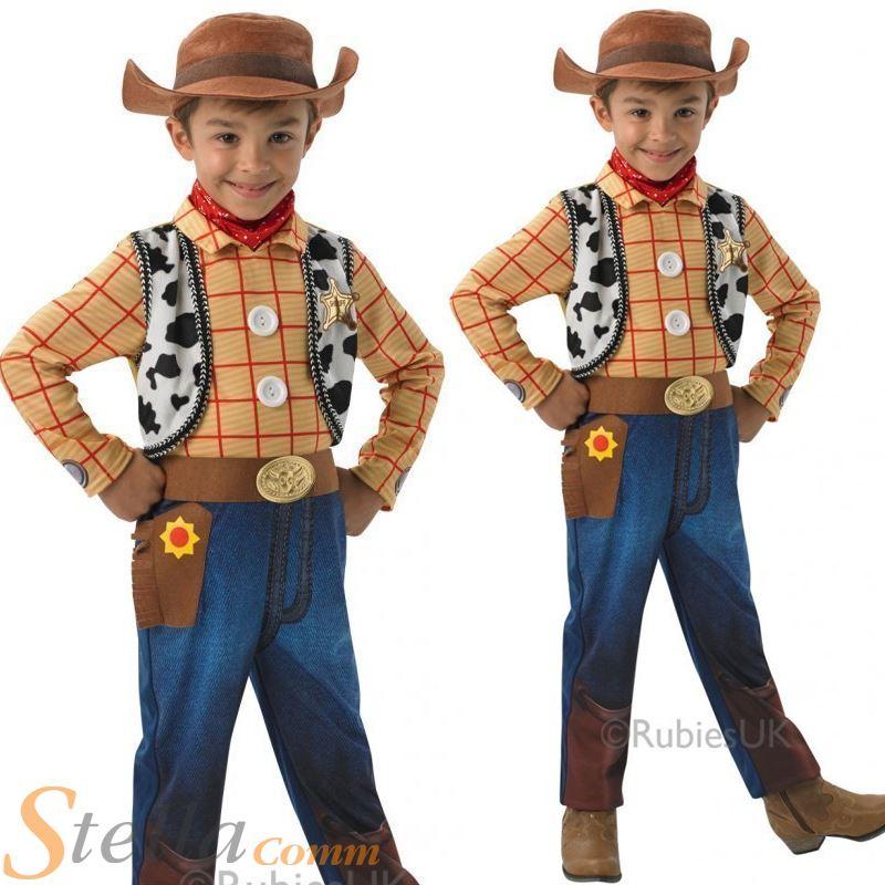 Niños De Lujo WOODY TOY STORY Disfraz de vaquero + SOMBRERO TRAJE ... 3595b59b491