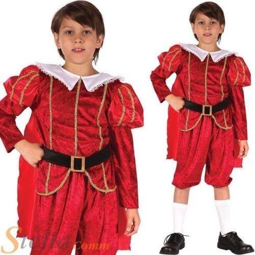 Tudor Boy Costume Child Royal Prince Fancy Dress Medieval Book Week Outfit Kids