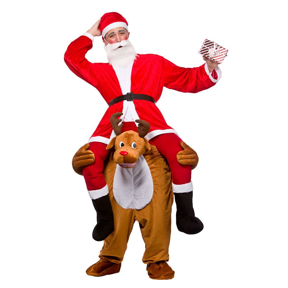 Mens Adult Carry Me Novelty Ride On Mascot Christmas Fancy Dress ...
