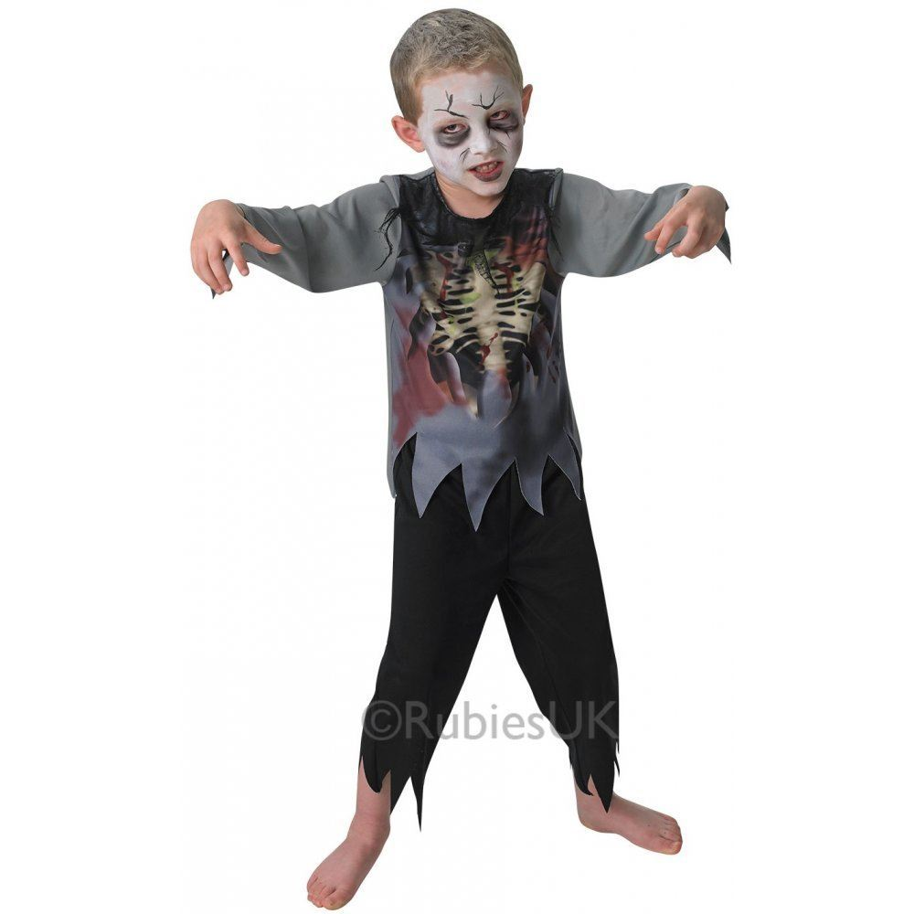 boys zombie fancy dress costume halloween horror undead kids childs outfit ebay. Black Bedroom Furniture Sets. Home Design Ideas