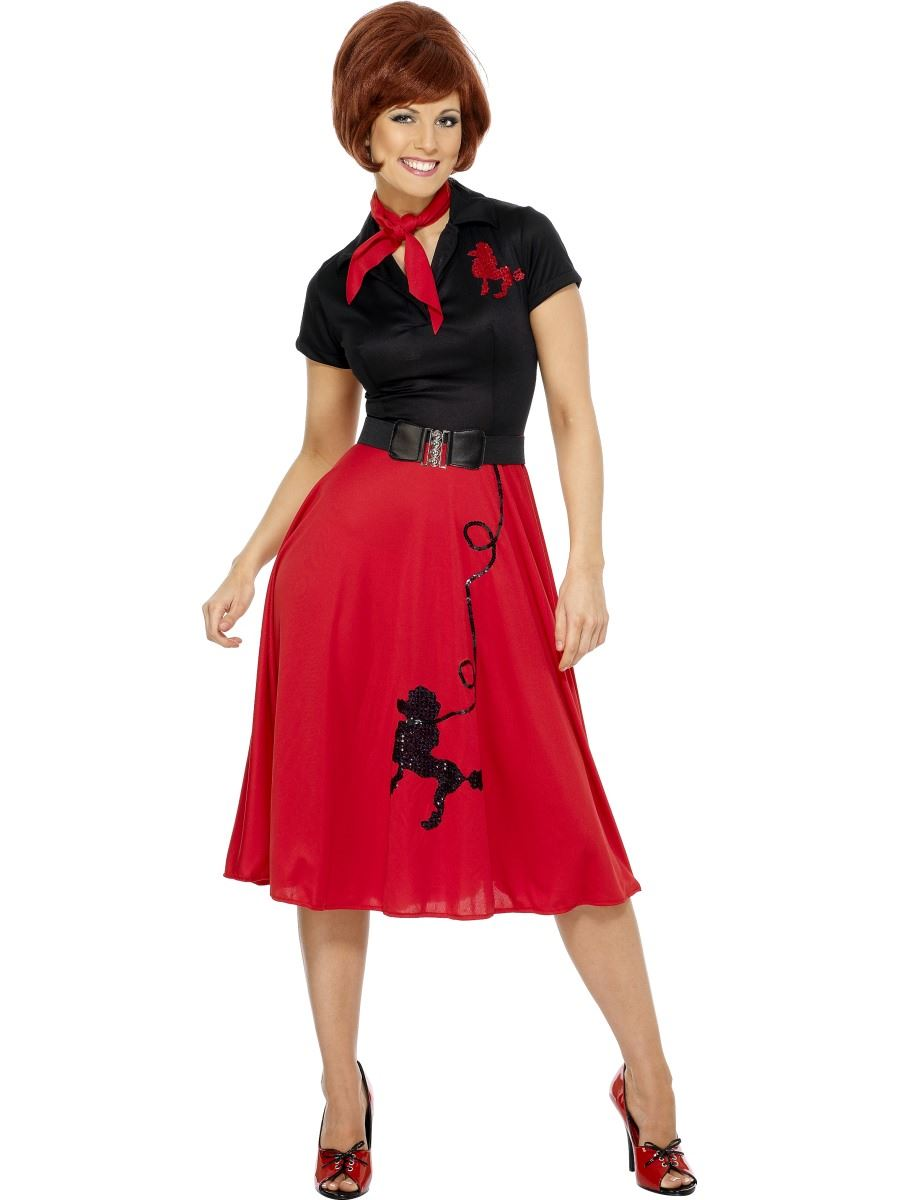 ladies 50s 60s poodle costume rock n roll grease fancy dress outfit