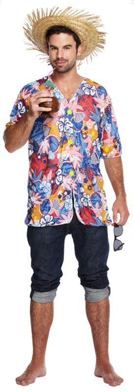 Mens hawaiian shirt magnum pi 80s beach party floral fancy for Hawaiian shirt fancy dress