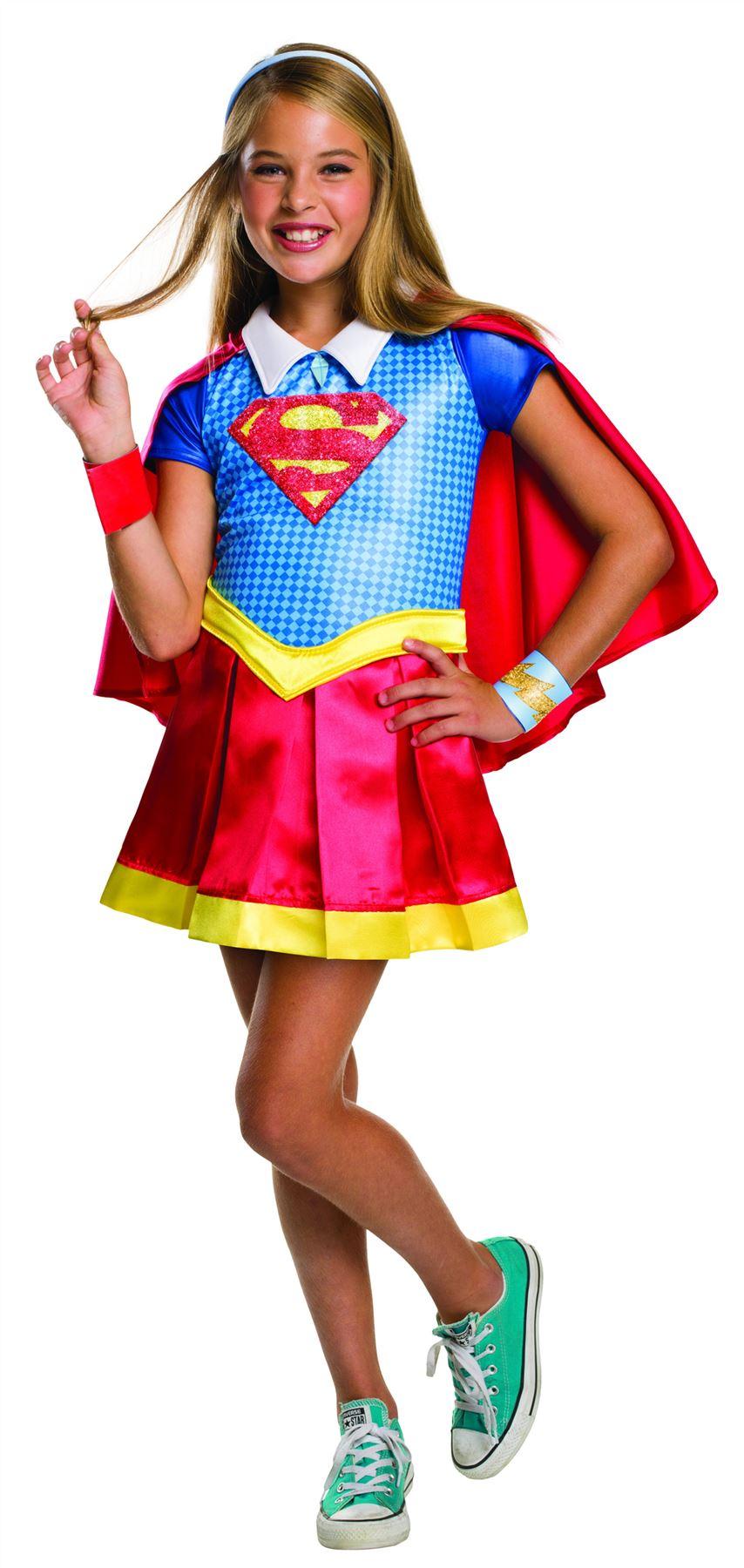 Girls deluxe supergirl costume superhero fancy dress dc comics halloween outfit ebay - Image super heros fille ...