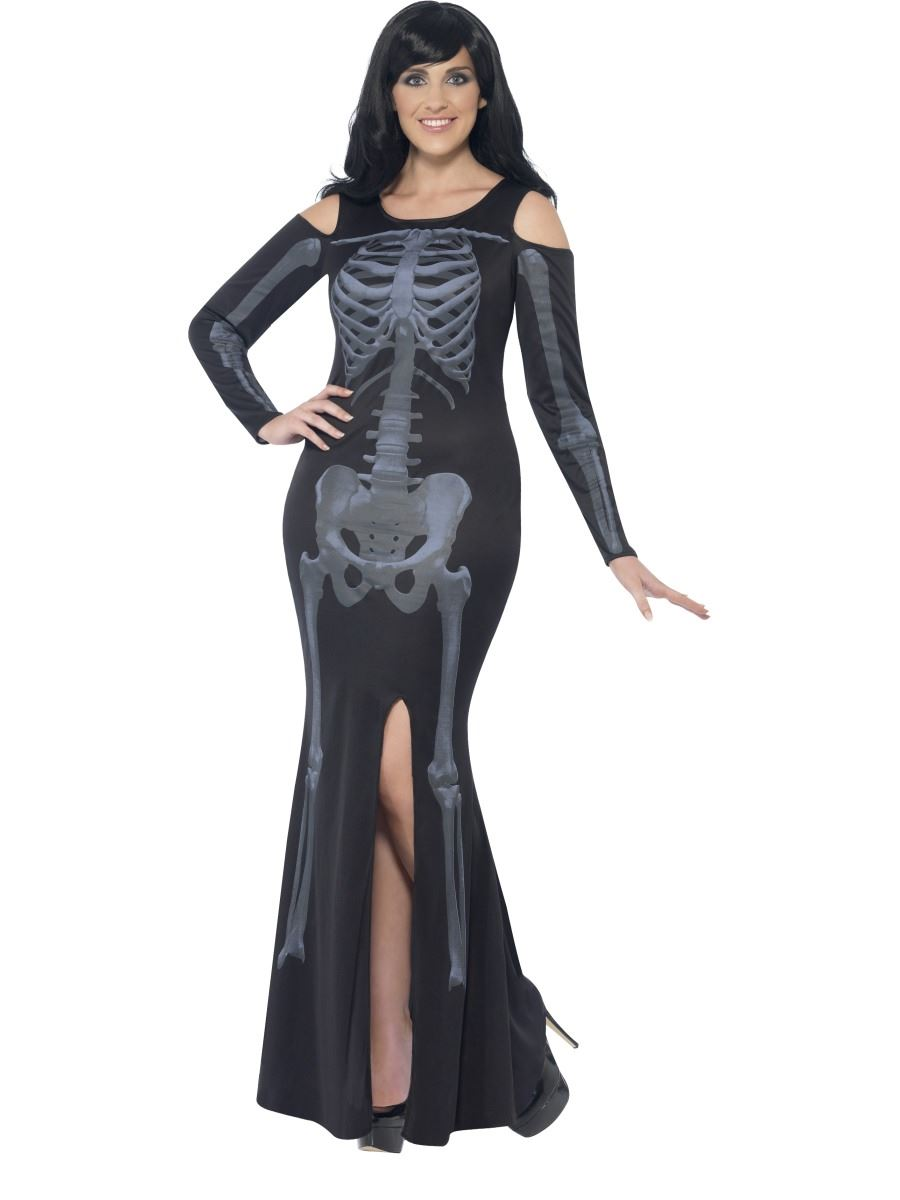 Ladies Curves Skeleton Bones Halloween Fancy Dress Costume Plus Size