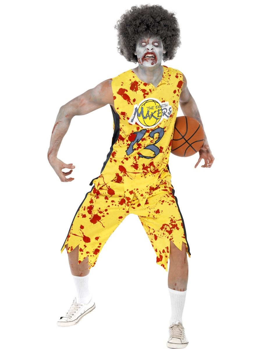 mens adult zombie basketball player halloween fancy dress costume