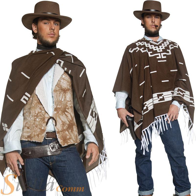 Hommes Occidental Tireur Cow Boy Costume Déguisement Clint Eastwood Poncho Ebay
