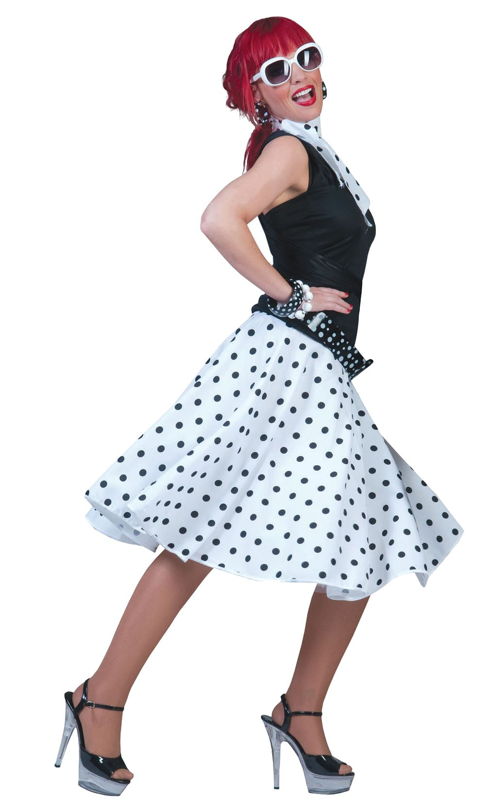 ladies polka dot skirt  scarf rock n roll 50s 60s fancy