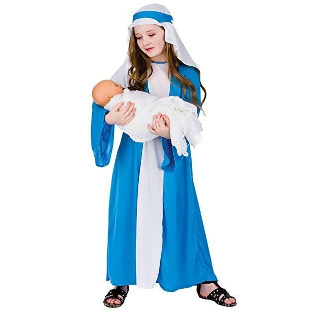 Virgin Mary Play Costume Nativity Dress Girls Fancy Christmas Outfit