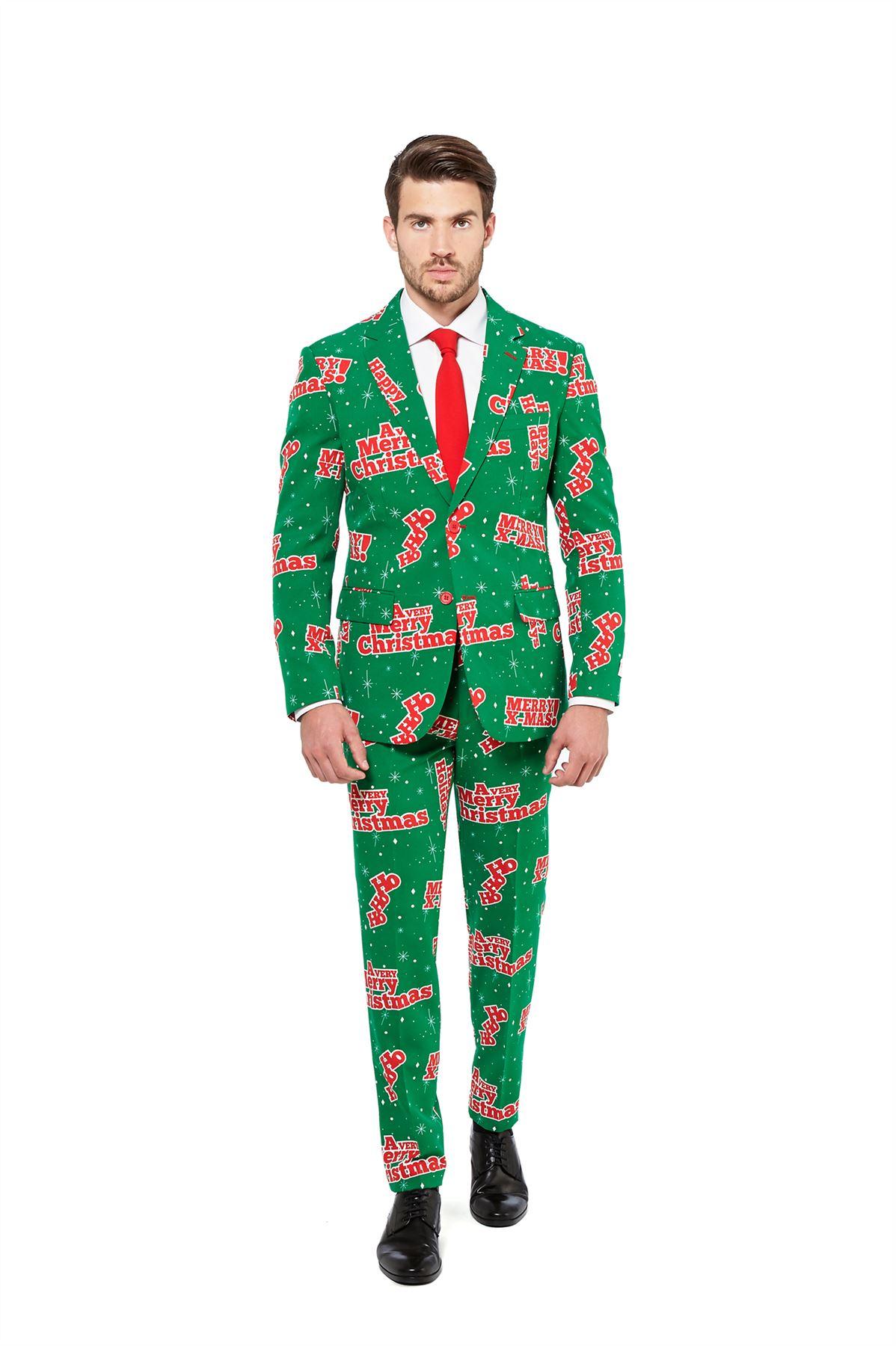 mens christmas opposuit fancy dress costume 3 piece suit deluxe festive outfit ebay. Black Bedroom Furniture Sets. Home Design Ideas
