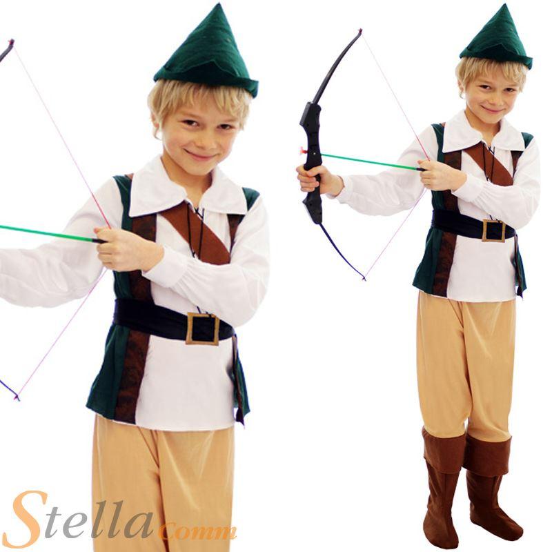 New Boys Hunter Medieval Robin Hood Book Week Kids Peter Pan Fancy Dress Costume