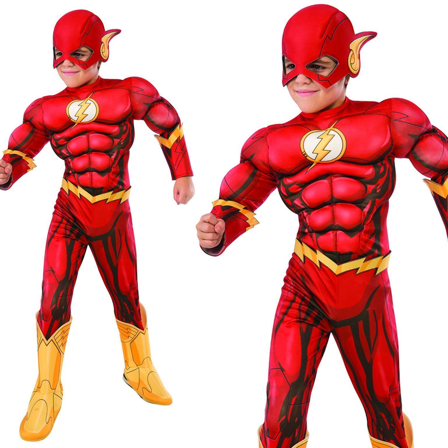 Details about Boys Deluxe Flash Costume Marvel Avengers Superhero Child Fancy Dress Outfit