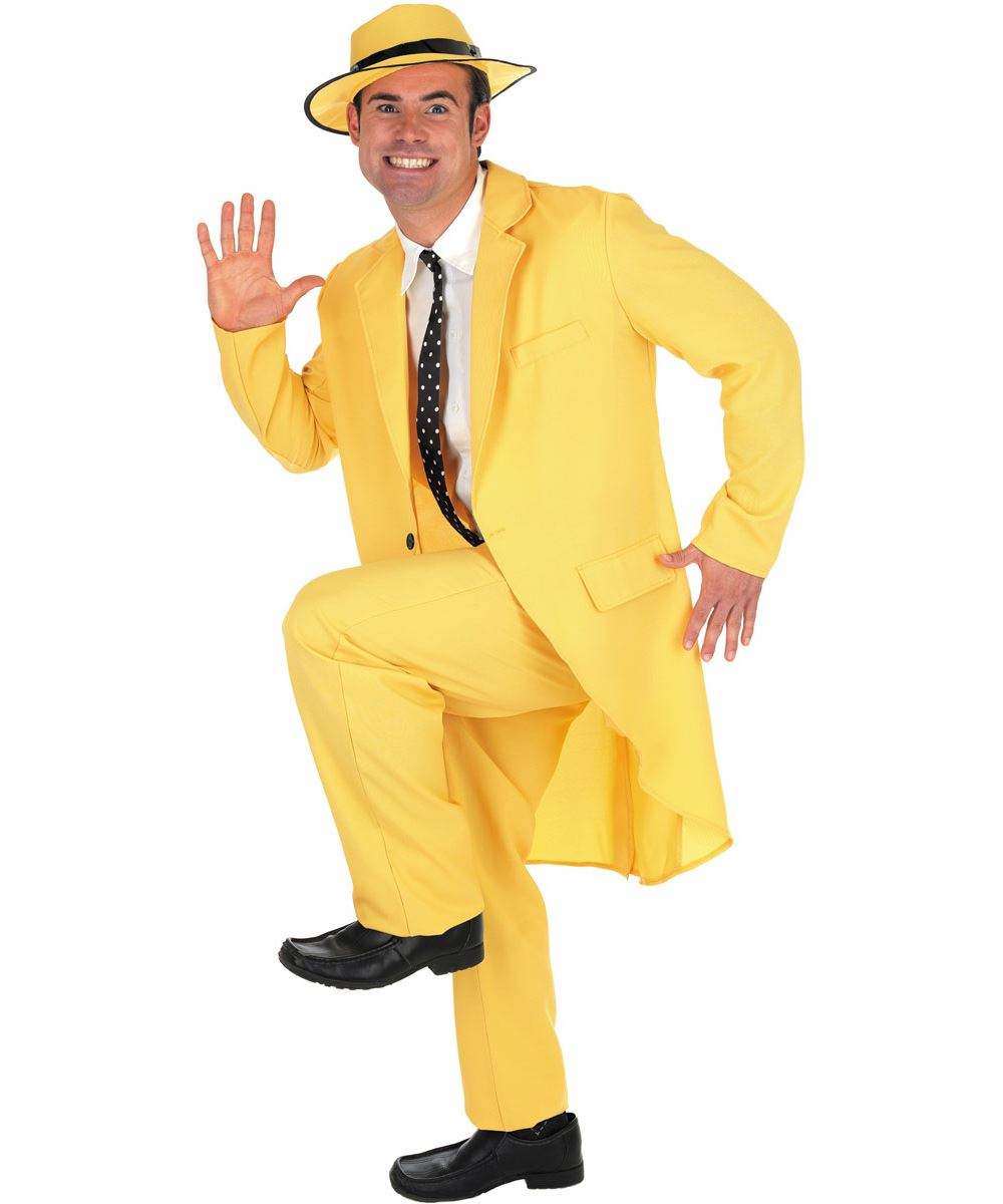 Mens Yellow Gangster Suit Costume The Mask Adult Fancy Dress Outfit | eBay