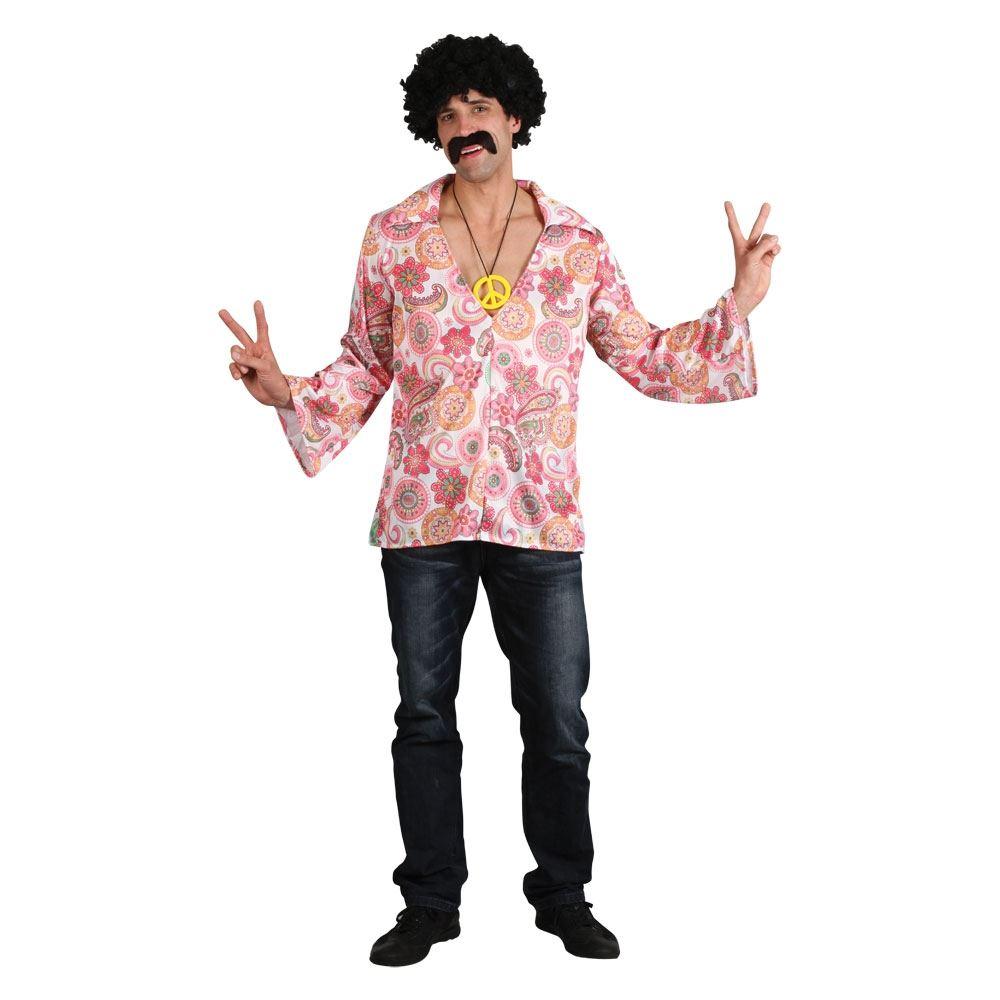 Mens Adults 60s 70s Hippie Hippy Woodstock Flower Power Fancy Dress Costume