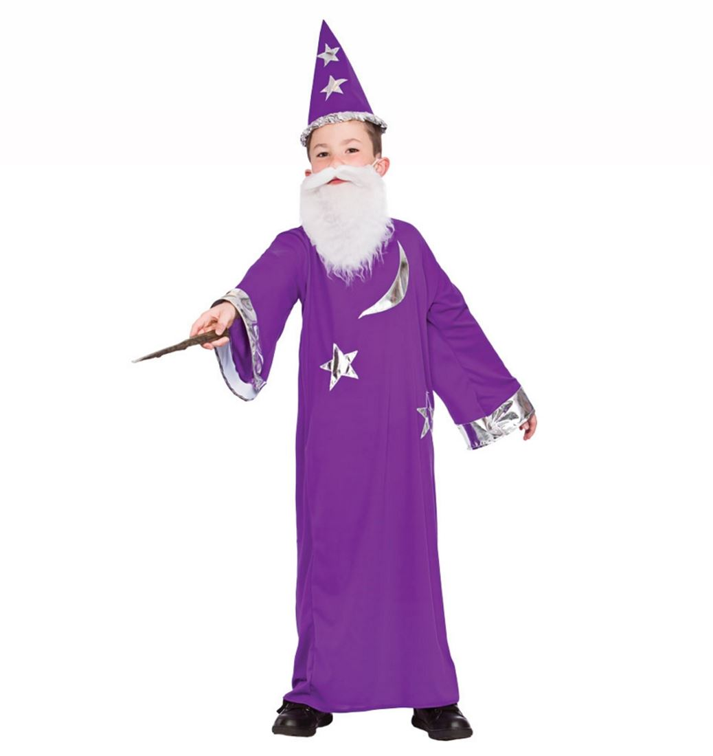 Boys Merlin Purple Wizard Magician Child Fancy Dress Costume Book ...
