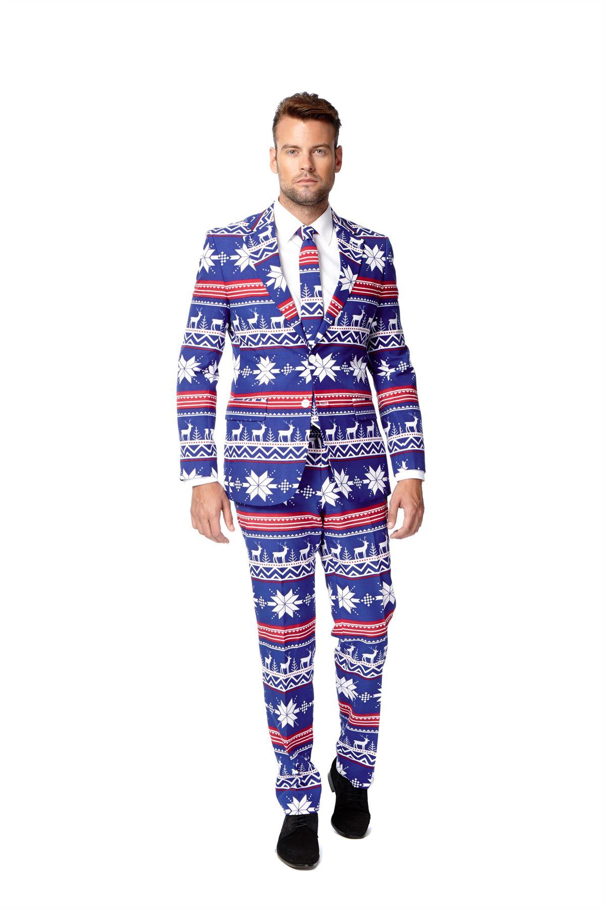 Mens Christmas Opposuit Fancy Dress Costume 3 Piece Suit Deluxe ...