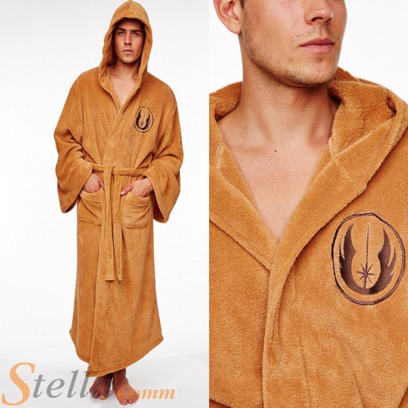 Adult Official Star Wars Jedi Soft Fleece Hooded Brown Bathrobe Dressing  Gown 8bb1f6556