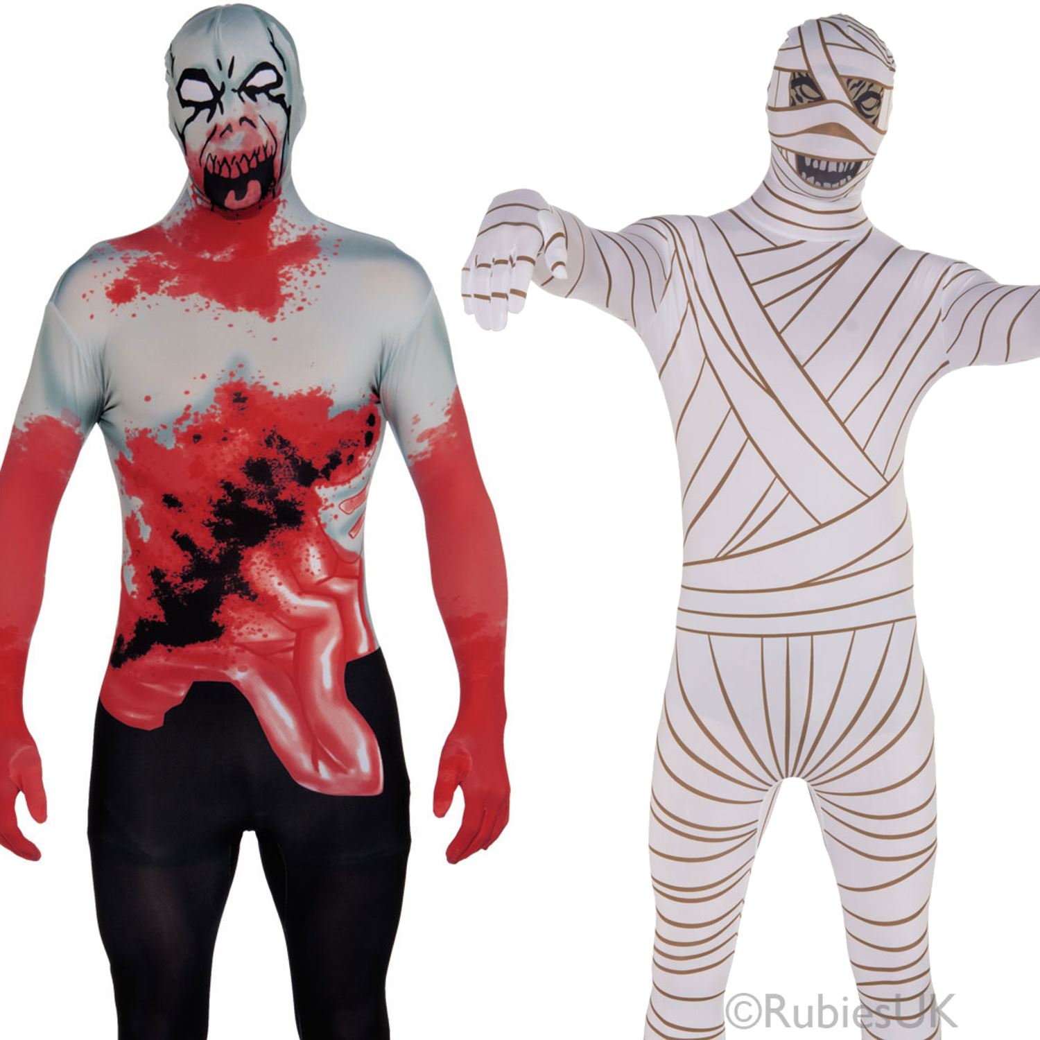 mens halloween 2nd skin tight full bodysuit adult horror fancy dress costume