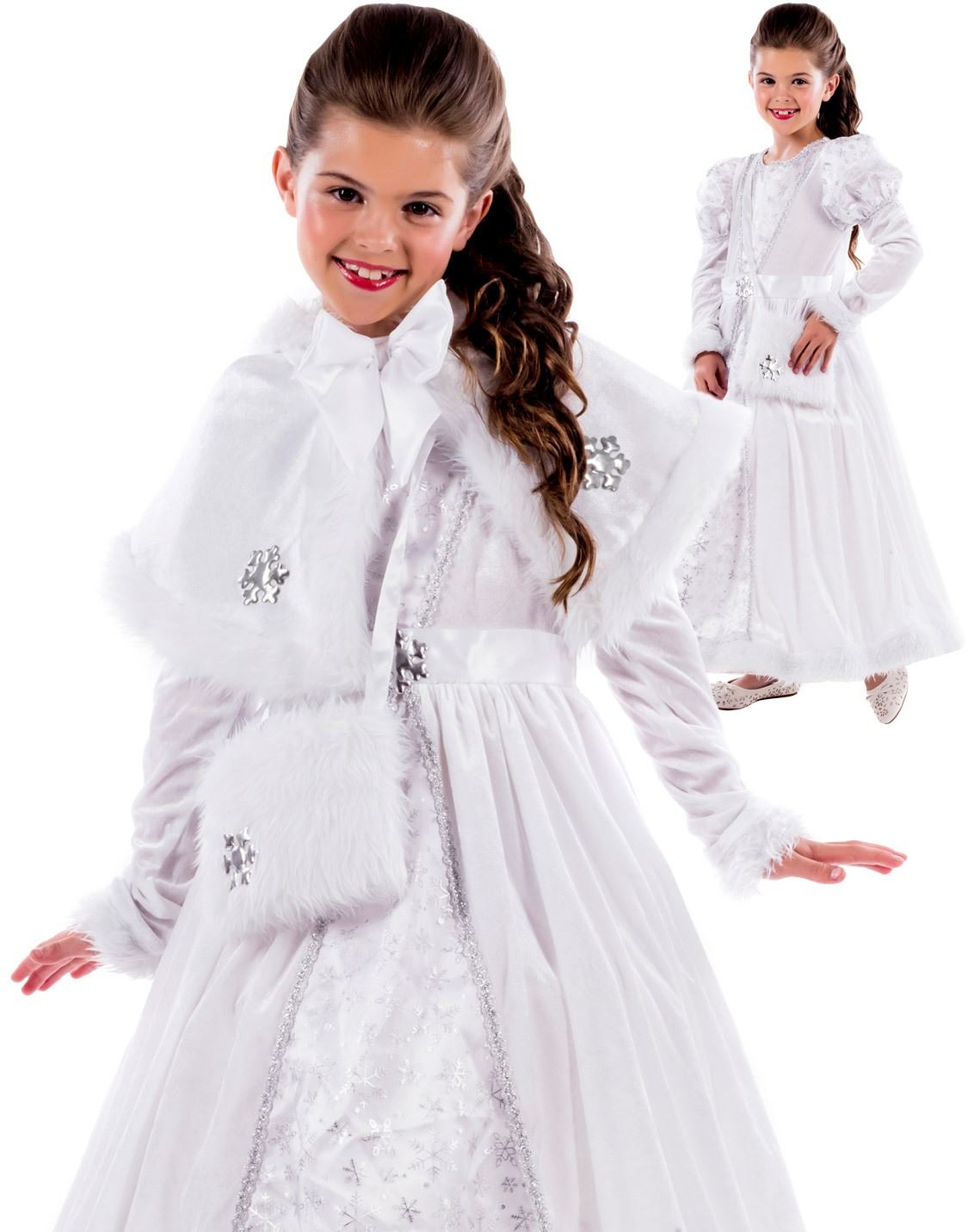 Girls Royal Ball Gown Costume Snow Queen Princess Fairytale Fancy ...