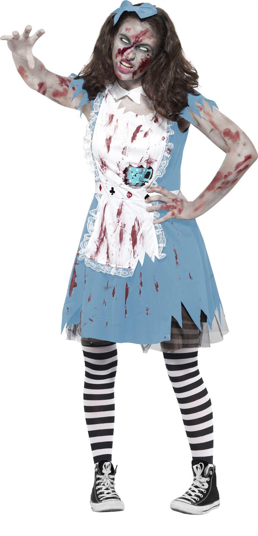 Zombie Alice Wonderland Halloween Costume Girl Teen Fancy Dress Tea ...