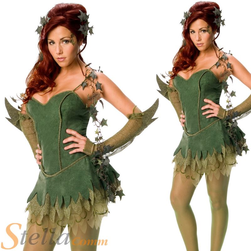 Ladies Poison Ivy Costume Sexy Superhero Batman Halloween Fancy Dress Outfit  sc 1 st  eBay : batman and poison ivy costumes  - Germanpascual.Com