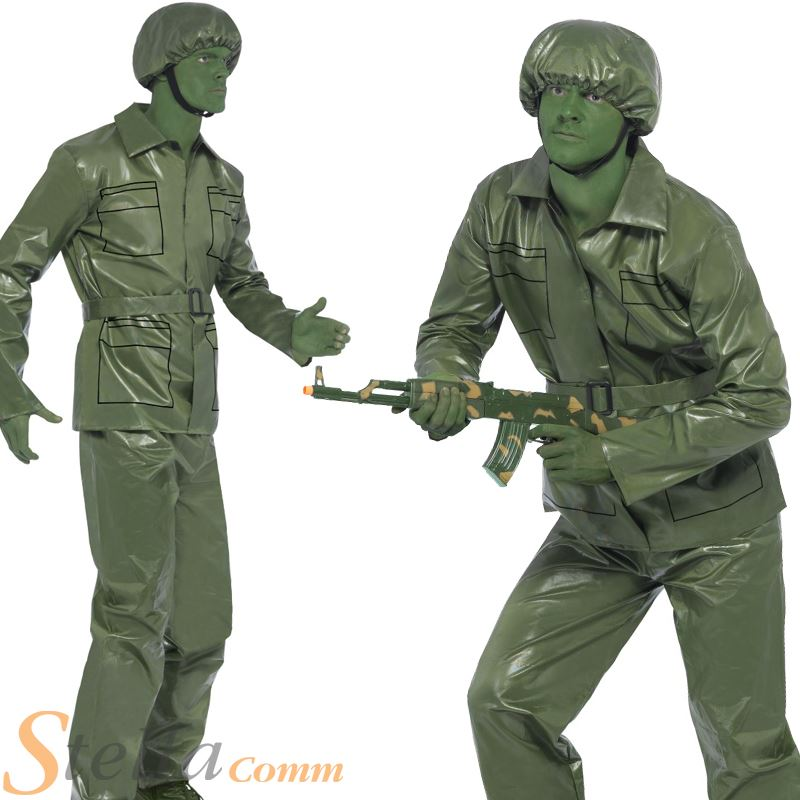 Mens Green Toy Soldier Costume Army 90s Story Military Fancy Dress Adult Outfit  sc 1 st  eBay & Mens Green Toy Soldier Costume Army 90s Story Military Fancy Dress ...
