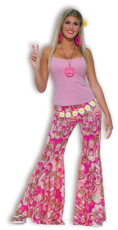 MUJER AÑOS 60 70 Hippy Flower Power Campana Pantalones Acampanados ...