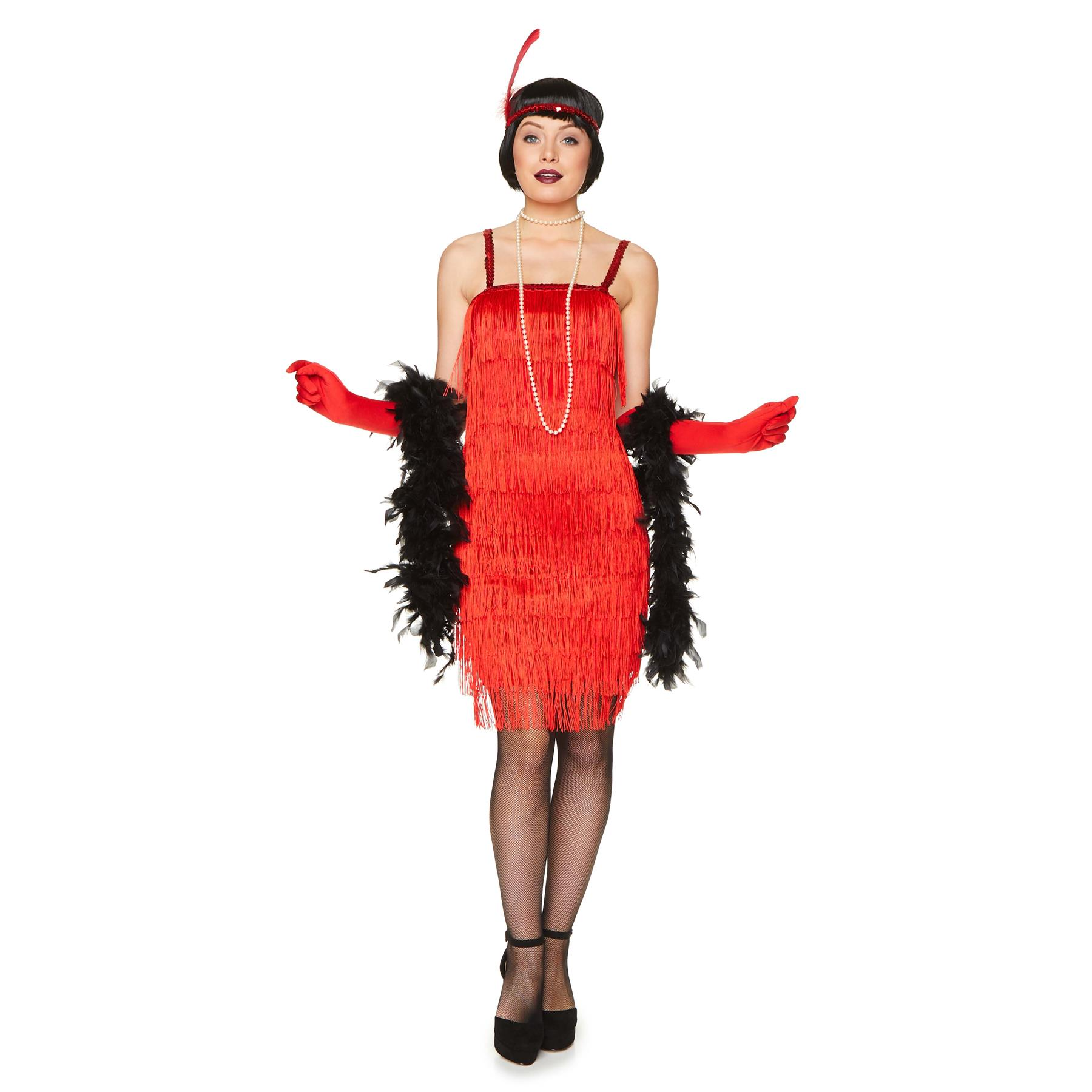 Pink Flapper 1920s Charleston Chicago Gatsby Fancy Dress Costume Outfit  UK 4-6