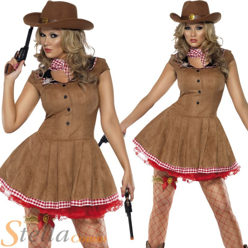 Ladies Wild West Cowgirl Cowboy Western Fancy Dress Costume Adult Outfit | eBay