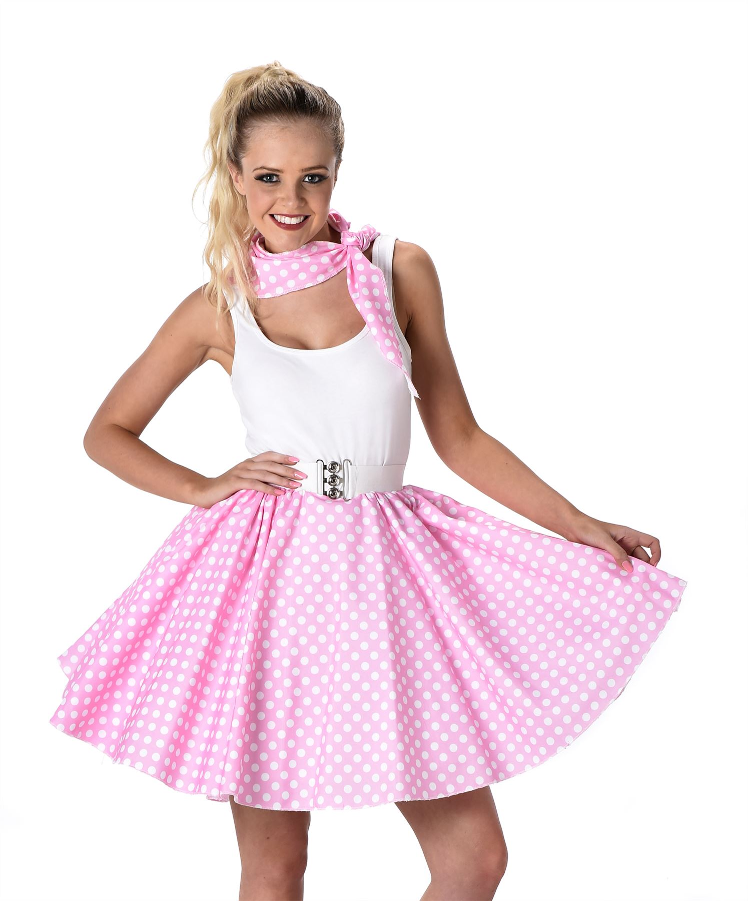 Baby Pink Polka Dot Skirt La s Fancy Dress 50s Rock Roll Womens