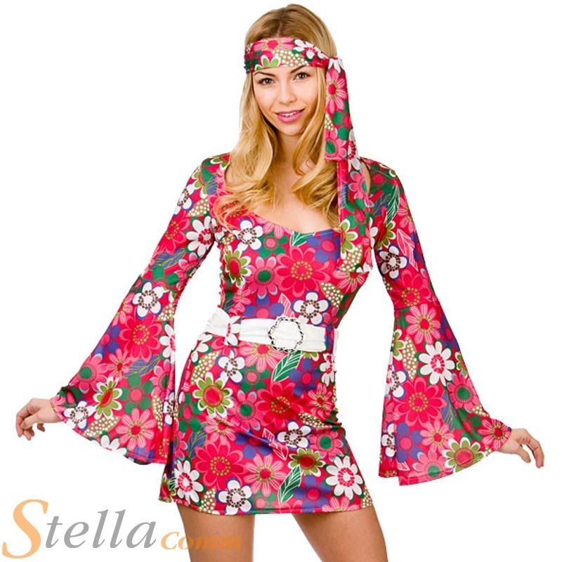 diseño novedoso mayor selección de ahorre hasta 80% Detalles de Mujer Retro GO GO Disfraz Niña AÑOS 60 AÑOS 70 Disfraz de  Hippie Disfraz Adulto