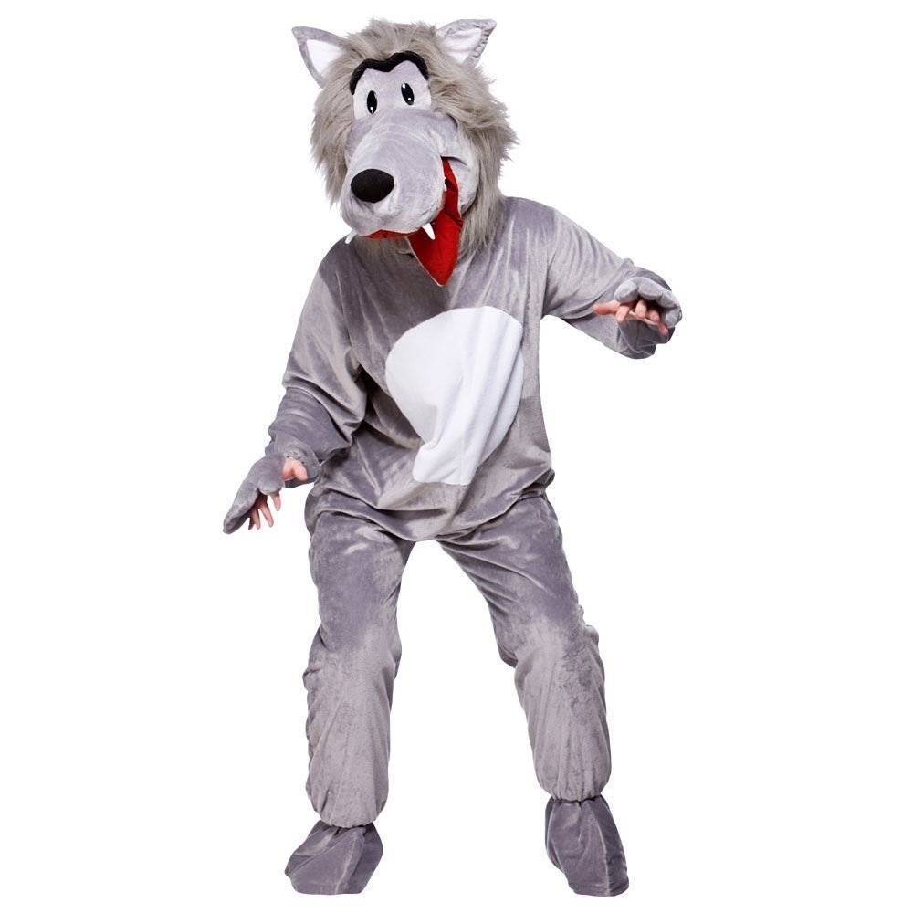 Kids Halloween 3 Pigs Little Riding Hood Book Day Werewolf Costume Overalls Mask