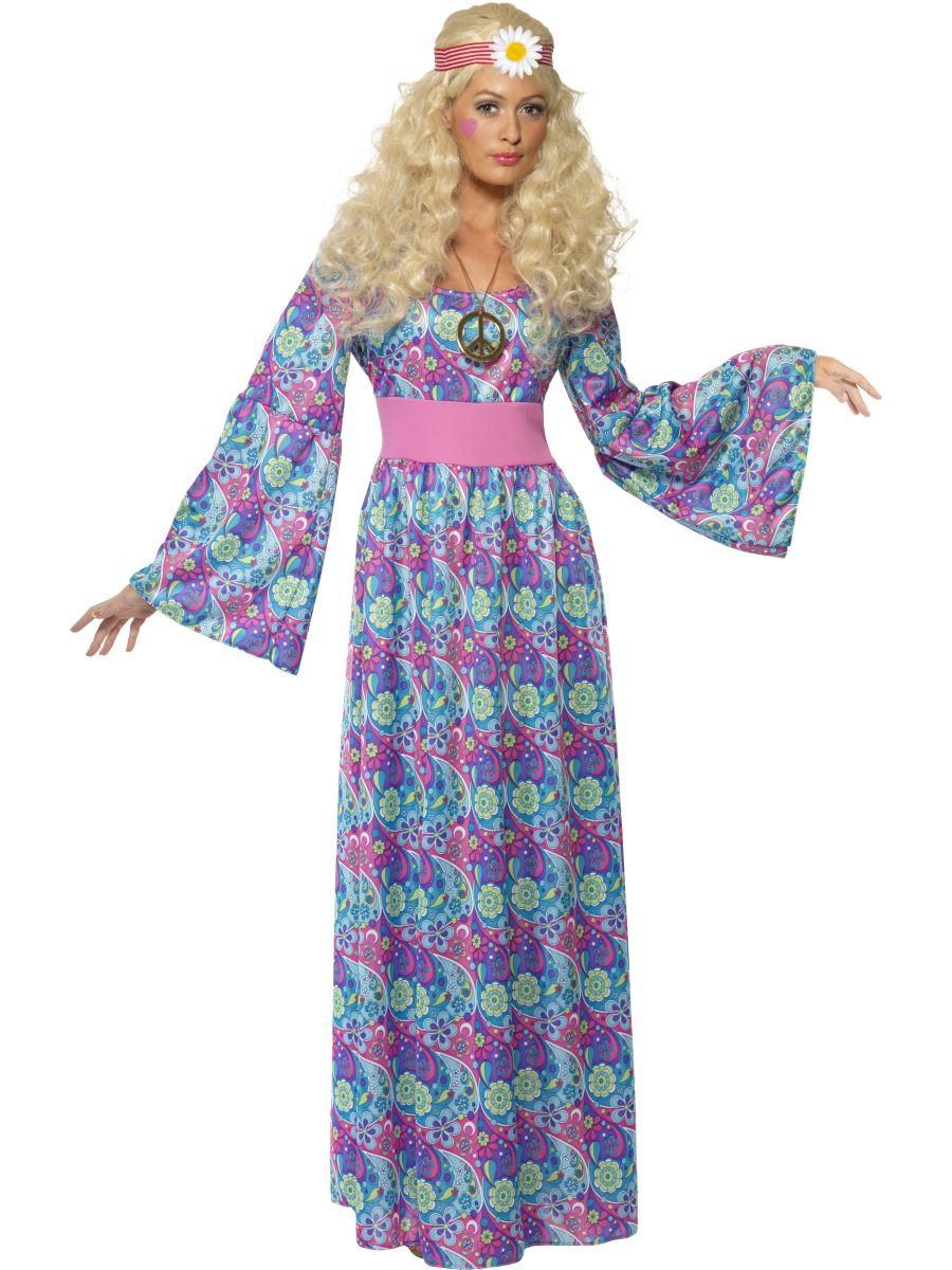 f23109fbe537 Detalles de Flor mujer infantil años 60 AÑOS 70 Hippy Vestido Largo Disfraz  Traje de hippie
