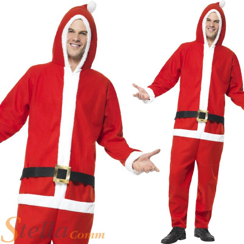 a76819dcb4b3 Mens Santa Claus Jumpsuit Father Christmas Fancy Dress Costume Adult Outfit